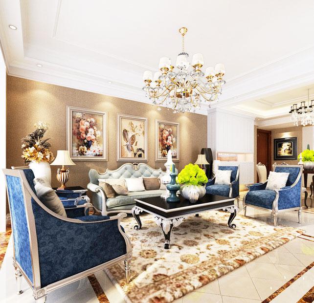欧式沙发背景墙效果图图片