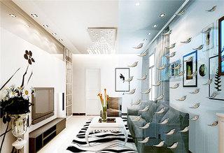 蓝色客厅玻璃隔断效果图