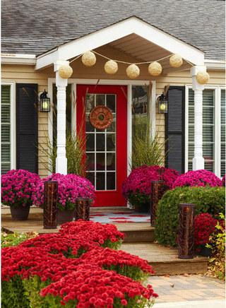 红色木门玻璃木门图片