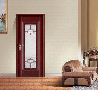 红棕色中式木门效果图