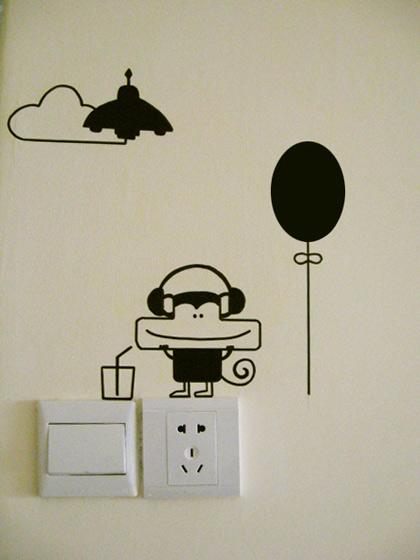 插座手绘背景墙图片