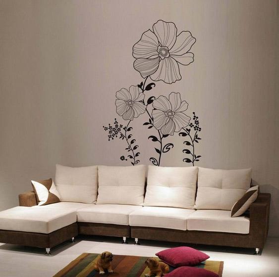 沙发手绘墙图片