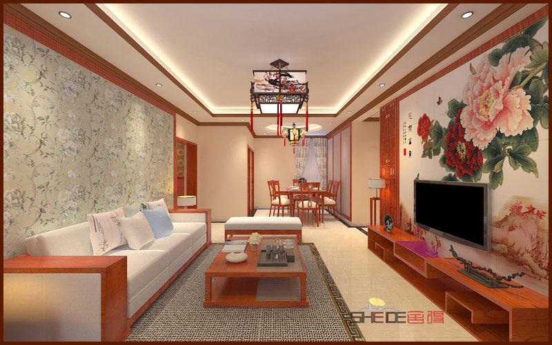 15-20万120平米中式三居室装修效果图,蓝波湾现代中式图片