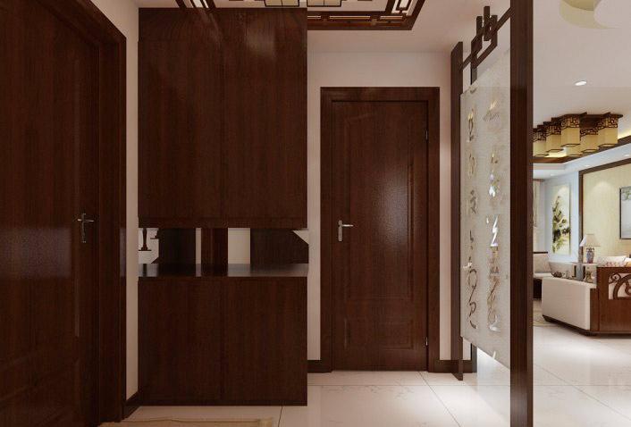 中式风格实木玄关柜图片