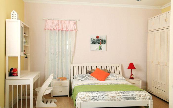白色简约儿童床设计图