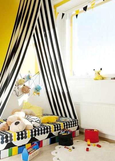 黄色黑色儿童房效果图