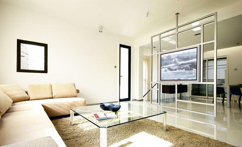客厅玻璃电视墙隔断