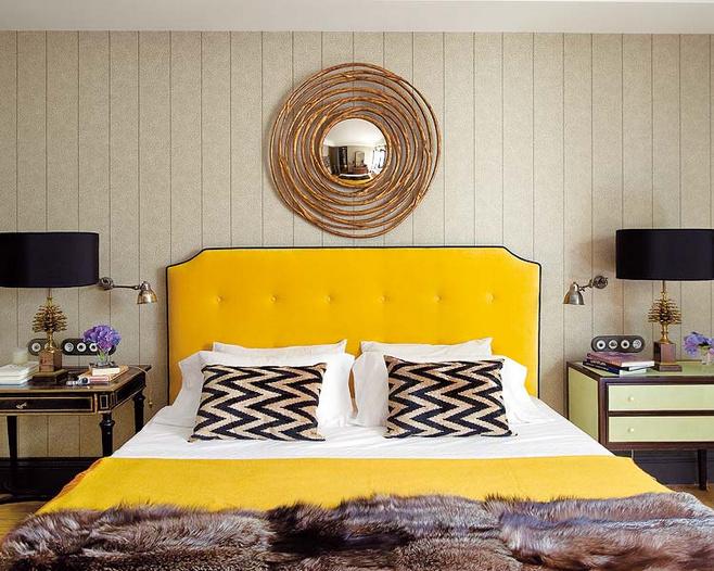 黄色床头软包图片
