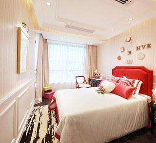 简约红色卧室床头软包效果图