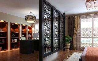 中式屏风卧室背景墙图片
