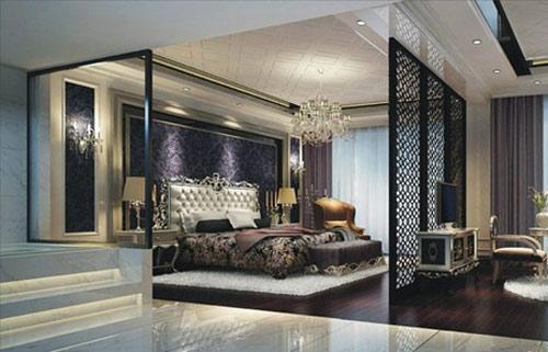 现代风格屏风卧室背景墙设计