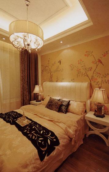 中式手绘卧室背景墙图片图片