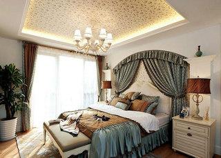 地中海布艺卧室床头背景墙图片