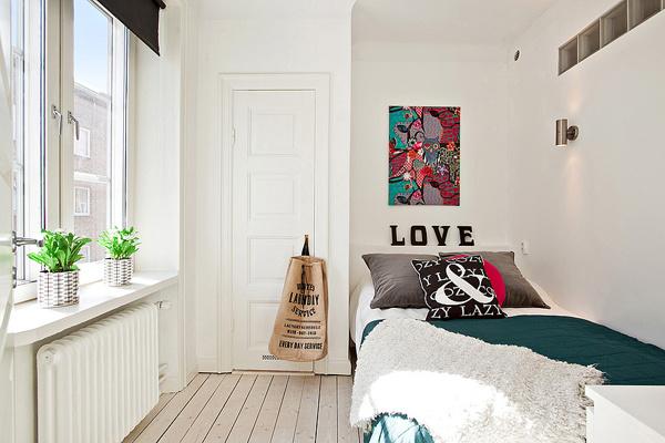 北欧白色卧室效果图