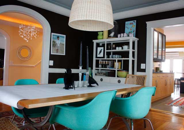 咖啡色餐厅背景墙设计效果图