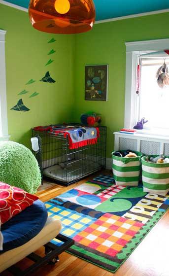 绿色墙壁混搭设计儿童休闲区设计效果图