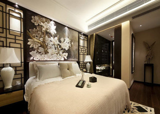 中式床头软包效果图