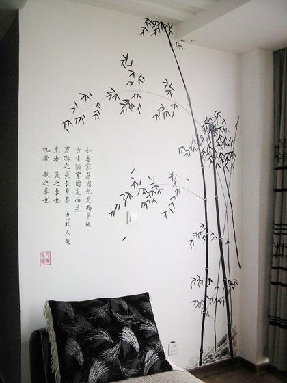 中式手绘墙效果图