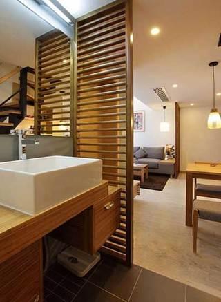 木板屏风洗手台设计效果图