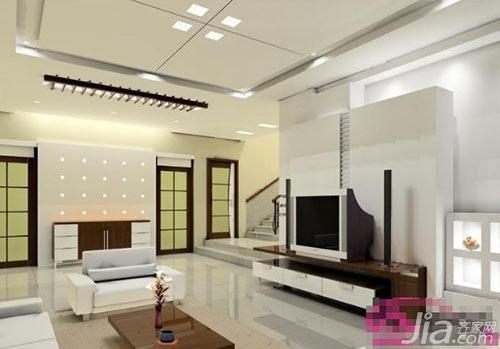 图中装修属于现代简约风格,整个客厅有一种柔和之美,客厅吊顶为规
