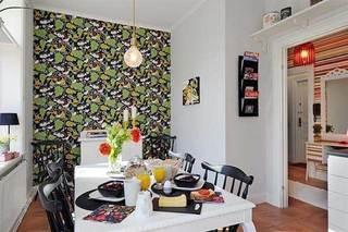 豪华花样餐厅背景墙壁纸设计效果图