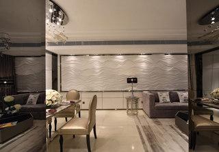 室内波浪板背景墙装修效果图片