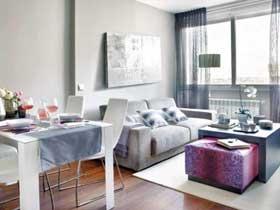 高贵紫遇上冷淡灰 打造北欧风小公寓