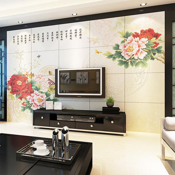 中式电瓷砖视背景墙