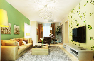 绿色现代简约电视墙壁纸