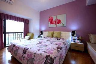 紫红色浪漫婚房卧室设计效果图
