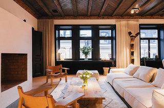 现代复古白色布艺沙发设计图片