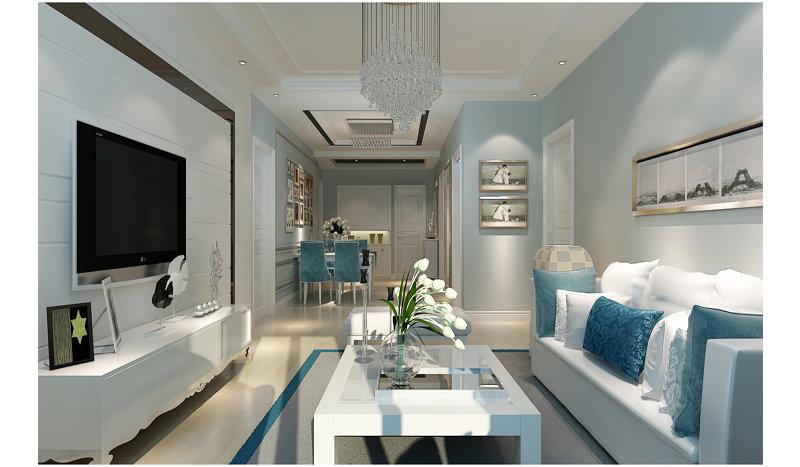 5-10万110平米欧式二居室装修效果图,112平清新北欧家图片