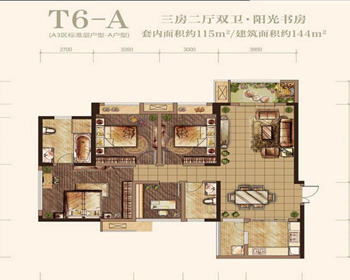 现代简约风格三居室黑白户型图