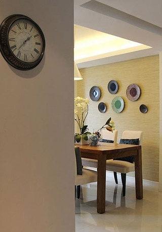 盘子装饰餐厅背景墙设计效果图