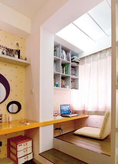 榻榻米阳台书房设计