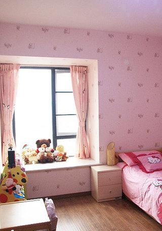 条纹飘窗窗帘效果图