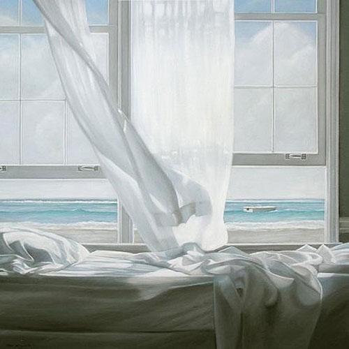 白纱飘窗窗帘效果图