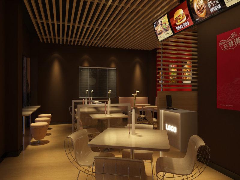 汉堡店装修效果图,室内设计效果图-齐家装修网