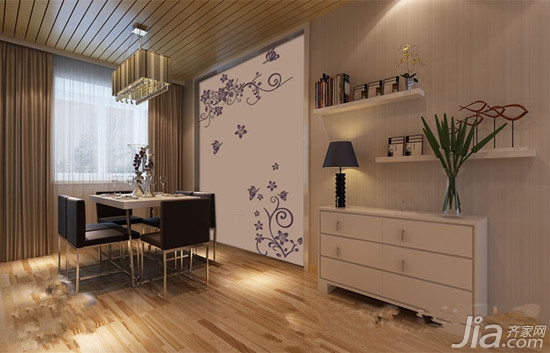 设计要点:硅藻泥墙面选用大面积的暖黄色配合同色系的简易圆形背景图片