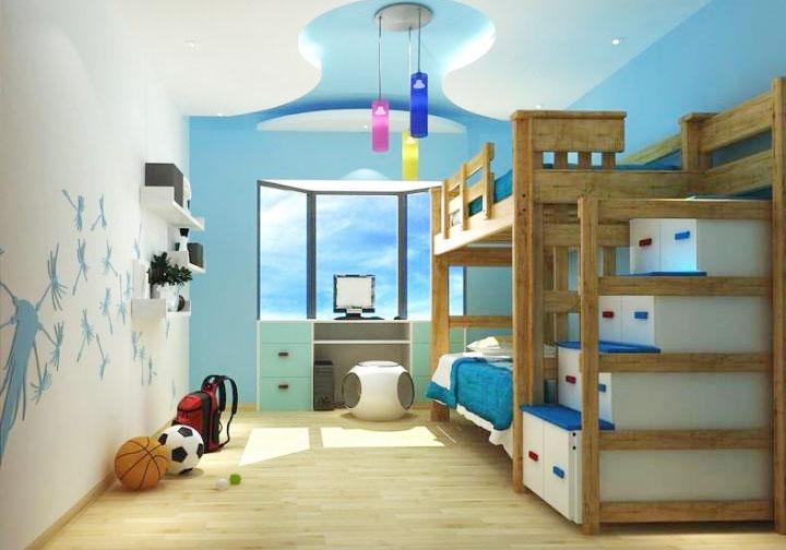 青年卧室手绘墙效果图