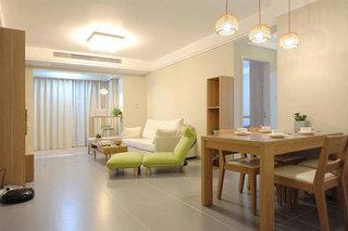 日式风格二居室原木色80平米效果图