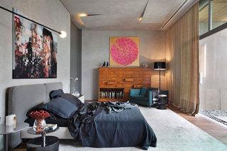 水泥墙 工业 风格 卧室 齐家网装修效果图