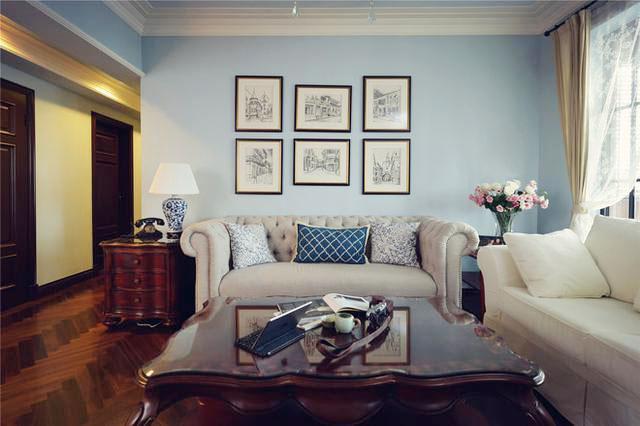 黑白铅笔画装饰客厅背景墙