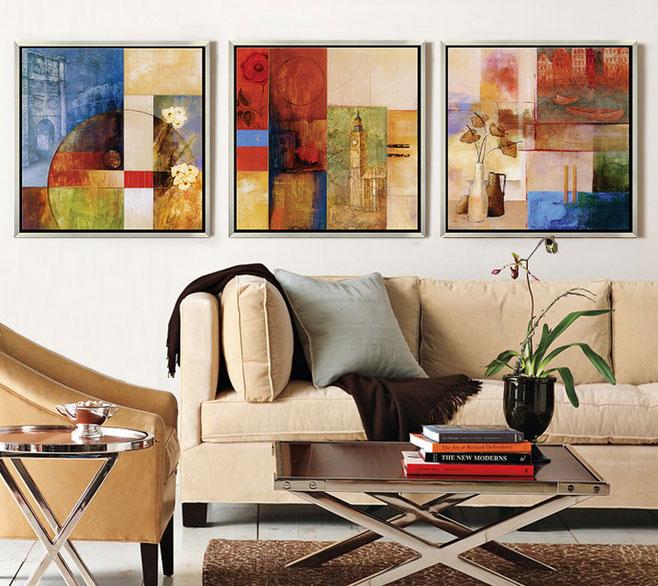 抽象画装饰客厅沙发背景墙