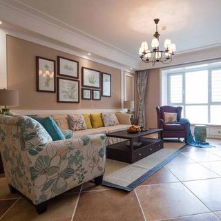 美式温馨沙发背景墙设计图片