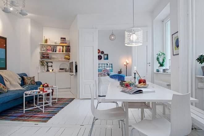 白色纯净北欧风 38平单身公寓设计图图片