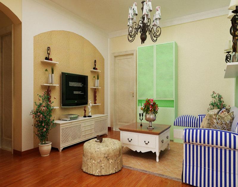 电视背景墙的暖色装饰和肌理感强的壁纸