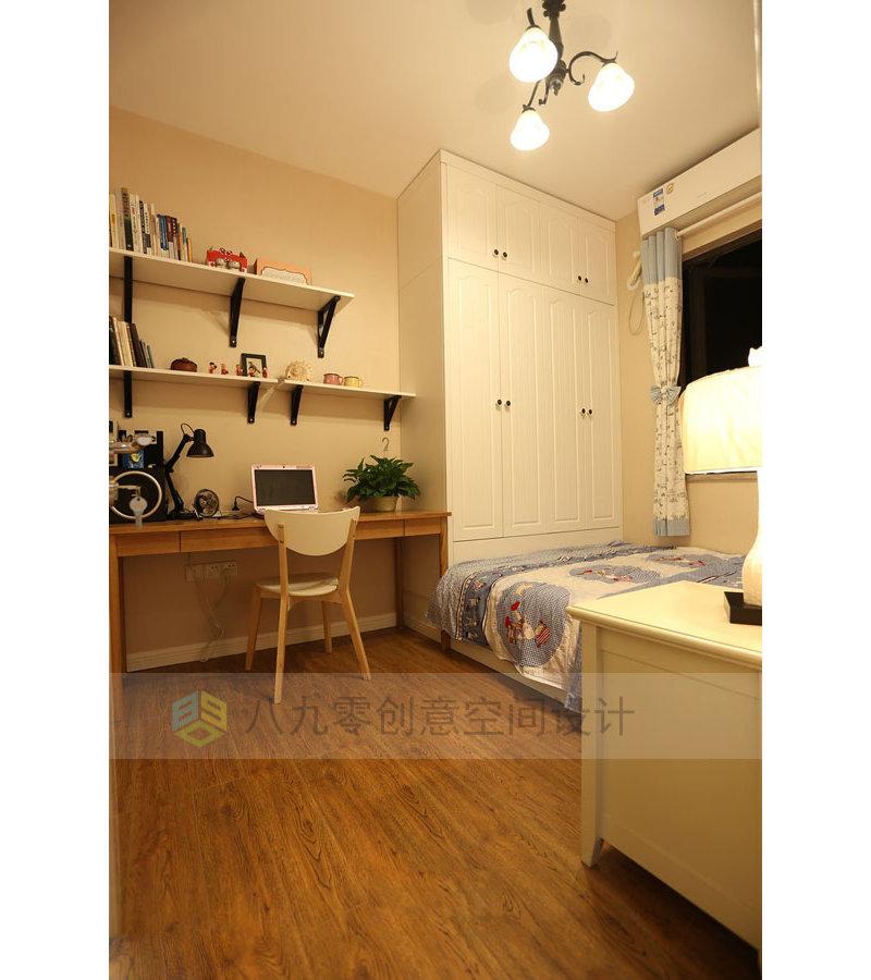10 15万90平米三居室装修效果图,美式简约装修案例效果图 齐家装修高清图片