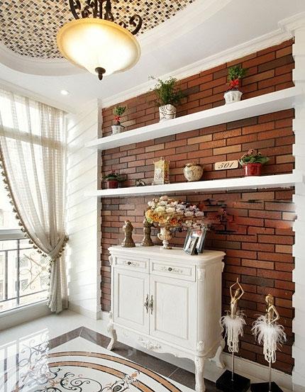 清新红色裸砖玄关背景墙