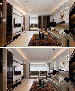 现代简约风格二居室130平米装修效果图